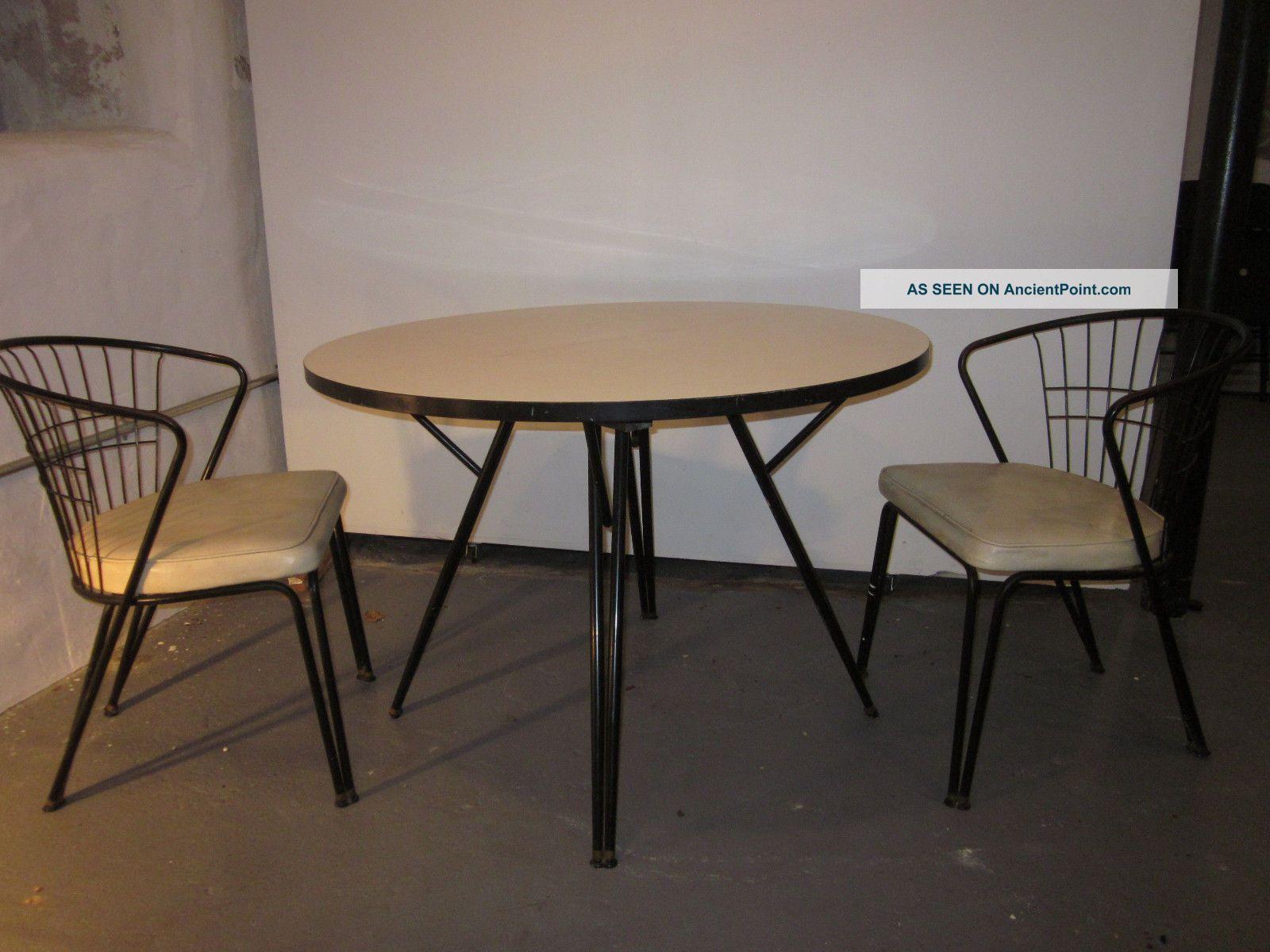 Herman Miller Vintage 1950 ' S Table Eiffel Chairs White Mid Century Mod Post-1950 photo