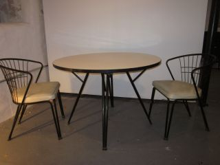 Herman Miller Vintage 1950 ' S Table Eiffel Chairs White Mid Century Mod photo