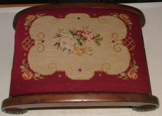 Antique English Or French Footed Needlepoint Foot Rest Footstool Mahogany Wood photo
