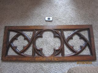 Gothic Oak Joliet Church Panel Victorian Fretwork Mirror Stained Glass Frame photo
