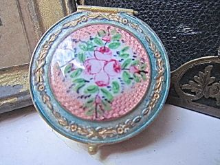 Divine French Antique Guilloche Enamel Roses Pill/patch/snuff Box photo