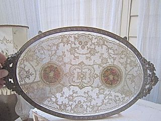 Utterly Antique Petit Point Roses Ormolu Tray Pretty photo