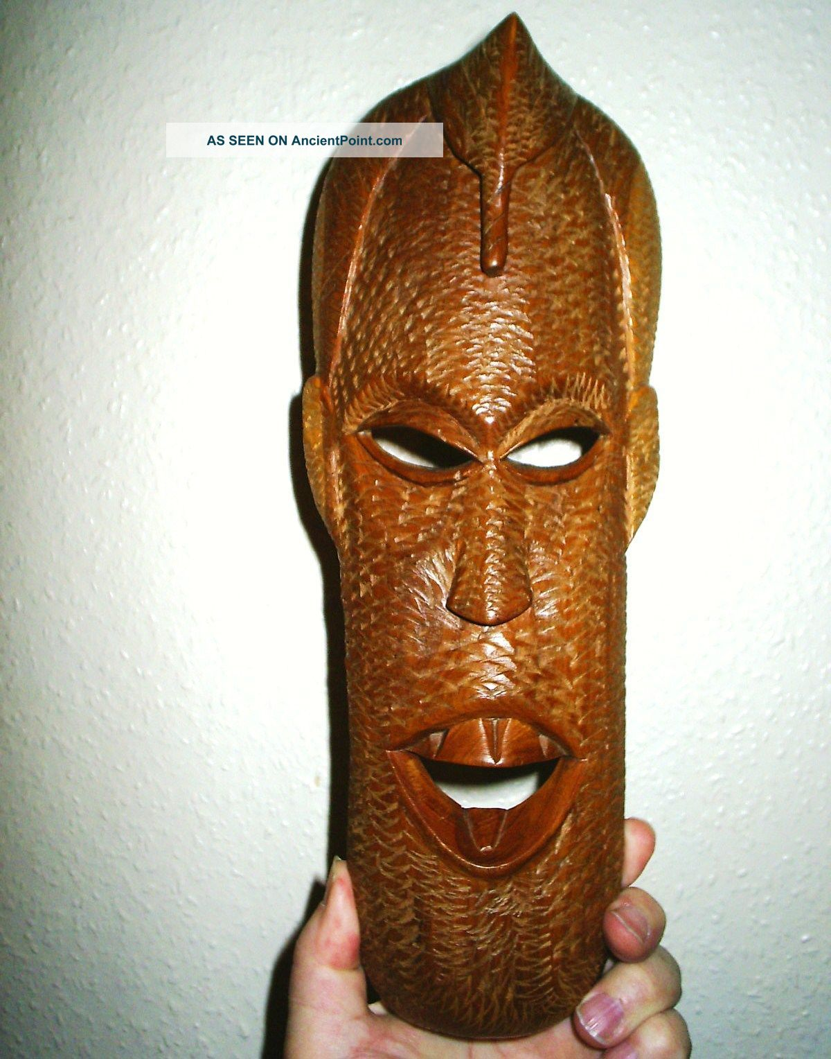 Interesting Vintage African Carved Light - Wood Wall - Mask Other photo