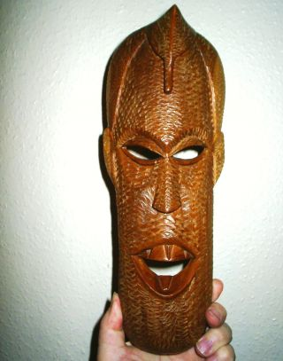 Interesting Vintage African Carved Light - Wood Wall - Mask photo