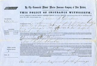 Bedford Whale Ship Insurance Policy 1866 Whaling Bark Platina photo