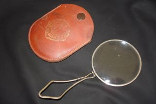 Gorgeous Vintage Folding Frame Loupe Magnifying Glass Lens Leather Case photo