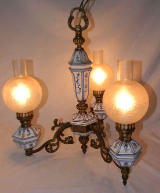 Rare Vintage 3 Arm Blue Onion Delft Chandelier Ceiling Light W Glass Shades photo