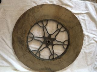Early 1900 ' S Industrial Style / Steampunk Wood & Ornate Cast Aluminum Wheel 1 photo