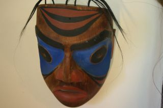 Antique Northwest Coast Cedar Wood Mask Paint Old Native American photo