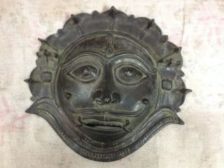 Antique Indian Hindu Traditional Ritual Mask Of God With Snake ' S Crown Shivahead photo