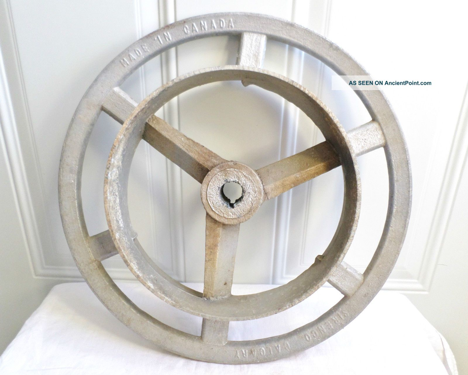 Vintage Big Aluminum Canada Industrial Fly Belt Gear Wheel Repurpose Steampunk Other photo