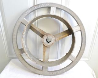 Vintage Big Aluminum Canada Industrial Fly Belt Gear Wheel Repurpose Steampunk photo