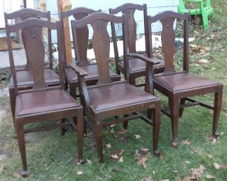6 Victorian Chesley Furniture Co.  T - Back Tiger Oak Dining Chairs From Canada photo