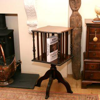 Antique Edwardian Revolving Mahogany Bookcase Compact Size photo