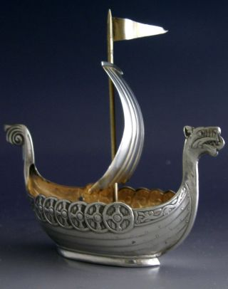 Unusual Norwegian 925 Sterling Silver Viking Boat Norway Antique C1920 photo