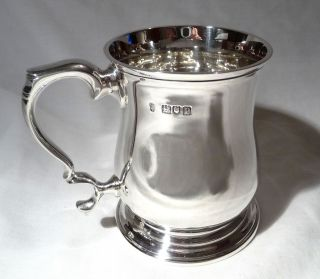 Rare London 1910 Antique Solid Sterling Silver Baluster Mug Cup Tankard - 218g photo