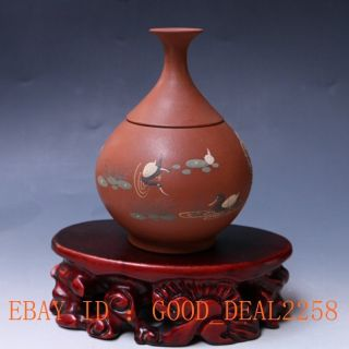Antique Chinese Yixing Zisha Handmade Painted 2 Swan Pots By Xuhantang (徐汉堂) photo