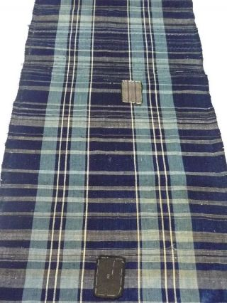 Japanese Old Antique Zanshi Indigo Stripe Indigo Cotton Boro Textile 051807 photo