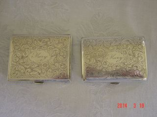 Antique Sterling Silver Cigarette Case And Compact photo