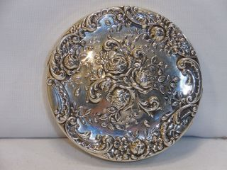Gorham 1950 Floral Rose.  325 Sterling Silver Compact photo