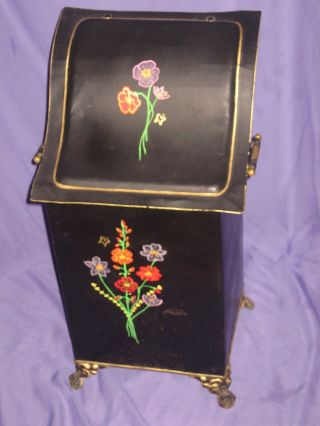 Antique 1800 ' S Victorian Coal Hod Scuttle Bucket Ash Bin Liner Handpainted Tole photo