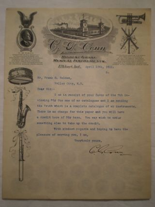 Antique 1911 Handsigned C G Conn Signature Letterhead Musical Instrument Graphic photo
