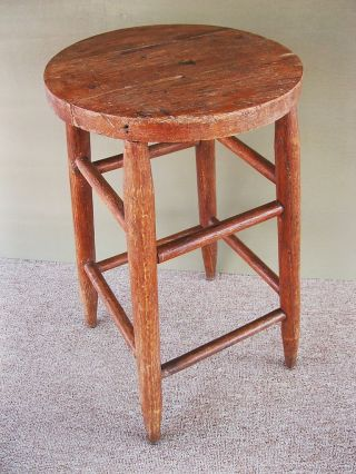 Antique Stool Vintage Primitive Oak Wood 24