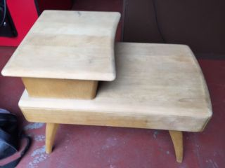 Vintage Wooden Telephone Table / Chair Gossip Bench Drawer & Seat 40 ' S - 50 ' S photo