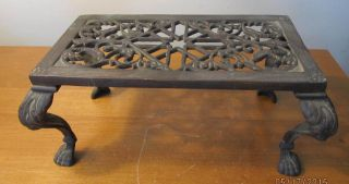 Fancy Antique Victorian Cast Iron Trivet Stand Paw Foot Feet Finish photo