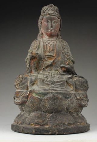 China Old Collectable Handmade Carving Wood Efficacious Buddha Statue Kuan Yin photo