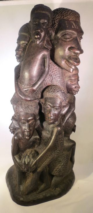 African Ebony Sculpture African Family Tree Of Life Statue Makonde Ebony photo