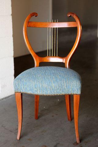 Antique Music Teacher ' S Chair Harp Wood,  Brass,  Upholstered photo
