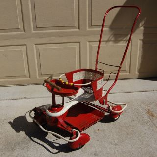 Vtg Red Metal And Wood Taylor Tot Baby Stroller With Full Fenders And Bumpers photo