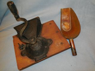Late 1800s Primitive Chuckwagon Cast Iron Grinder With Handle And Brass Scoop photo