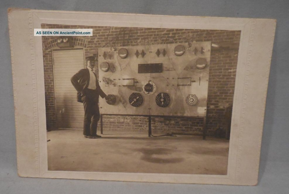 Orig Antique Cabinet Photo Electrical Control Panel Fireman Railroad Other photo