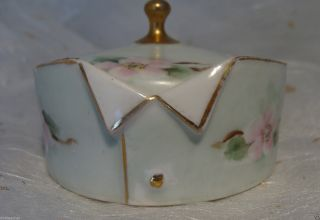 Antique German Hand Painted Porcelain Stud Collar Button Box Germany Wild Roses photo