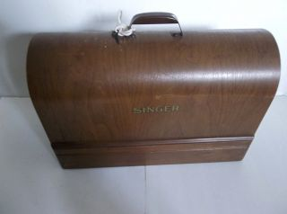 Antique Singer Sewing Machine Case Curved Wood Motor Light Belt Made In Usa photo