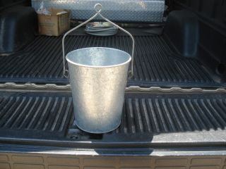 Galvanized Metal Well Water Bucket With Loop - Top Handle photo