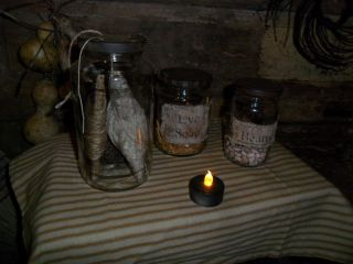 Primitive Early Look Needfuls - Pantry Jars 4 Ur Cupboard,  String,  Soap,  Beans photo