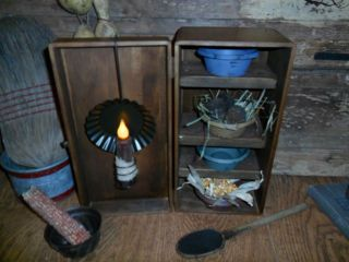 Primitive Early Look Cupboard Pie Safe,  4 Cubbies & Pans,  Candle Light Reflector photo
