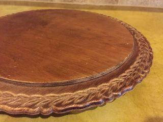Vintage Wood Cake,  Carved Borderaround Cake Plate photo