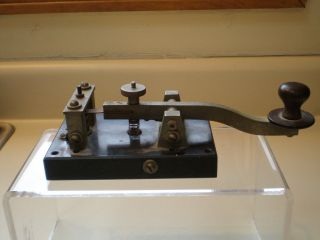 Antique Large Telegraph Key With Bakelite Base - Piece photo