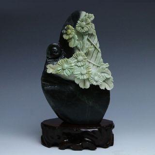 Chinese Natural Dushan Jade Hand Carved Statue - - - Chrysanthemum & Snail photo