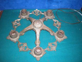 Vintage Victorian Riddle 1930s Cast Metal Chandelier Ceiling 5 Light Fixture photo