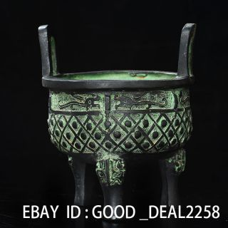 China Old Antique Bronze Hand - Carved Tripods Incense Burner —— Dragon photo
