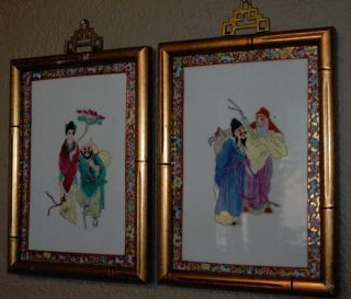2 Chinese Antique Porcelain Plaques Hand Painted 1900 - 1940 Multi Color photo