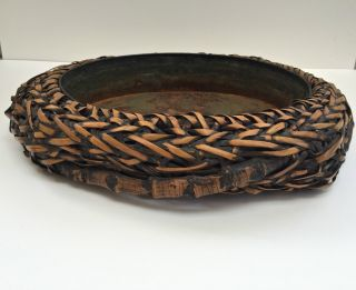 Large Antique Japanese Ikebana Woven Bamboo Vessel Basket With Metal Liner 2 photo