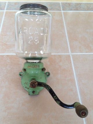 Arcade Crystal 25 Coffee Grinder 1920 ' S Wallmount - Green - Cast Iron - photo
