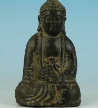 Asian Chinese Tibet Religion Old Bronze Carved Collect Handwork Buddha Statue photo