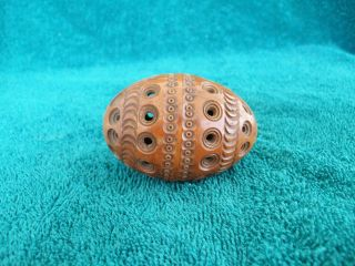 Antique 1870 ' S Victorian Folk Art Wood Carved Egg Thimble Sewing Case Box 2